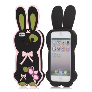 Lovely Bowknot 3D Rabbit Silicone Case Cover for iPhone 5 - Black