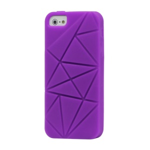 Irregular Pattern Silicone Case Cover for iPhone 5 - Purple