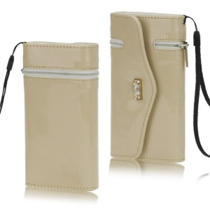 Glossy Leather Credit Card Wallet Zipper Case Cover with Strap for iPhone 5 5s - Beige