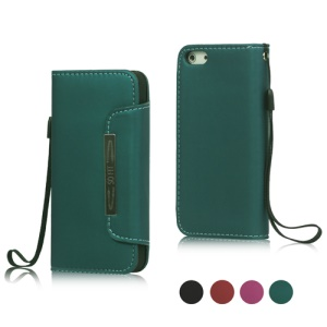 Magnetic PU Leather Wallet Case Cover with Wristlet Strap for iPhone 5