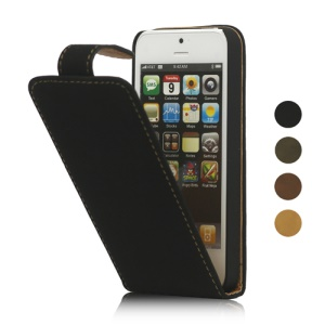 Vertical Soft PU Leather Flip Case Cover for iPhone 5
