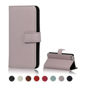 Magnetic Litchi Leather Card Slot Wallet Case Cover with Built-in Stand for iPhone 5