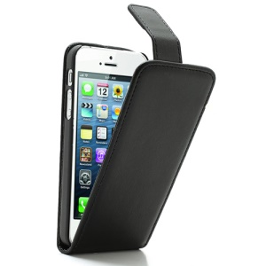 Black Vertical Magnetic PU Leather Flip Case Cover for iPhone 5 5s
