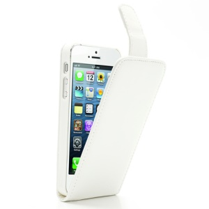 White Vertical Magnetic PU Leather Flip Case for iPhone 5 5s