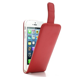 Red Vertical Magnetic PU Leather Flip Cover for iPhone 5 5s