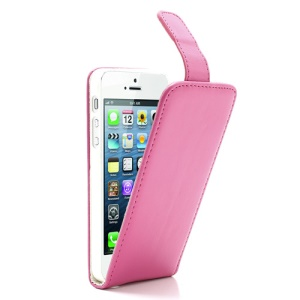 Rose Vertical Magnetic PU Leather Flip Cover Shell for iPhone 5 5s