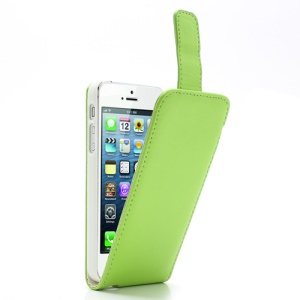 Green Magnetic PU Leather Vertical Flip Case for iPhone 5 5s