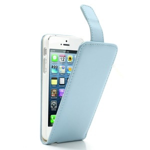 Baby Blue Magnetic Vertical Flip Protective Leather Cases for iPhone 5 5s