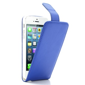 Dark Blue Magnetic Vertical Flip Protective Leather Case for iPhone 5 5s