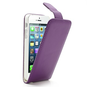 Purple Magnetic Vertical Flip For iPhone 5 5s Leather Case