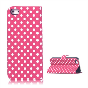Polka Dots Leather Stand Case Cover for iPhone 5 - Rose