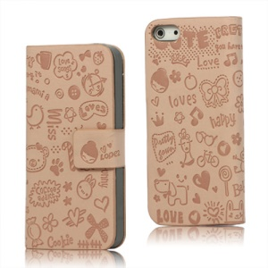 Cute Cartoon Magnetic Leather Folio Case Cover for iPhone 5 - Pink