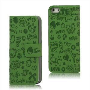 Cute Cartoon Magnetic Leather Folio Case Cover for iPhone 5 - Green