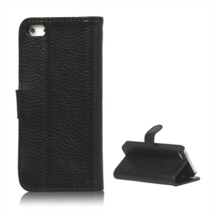 Genuine Leather Flip Wallet Credit Card Stand Case for iPhone 5 - Black