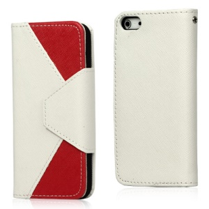 Two-Tone Leather Wallet Case for iPhone 5 - White / rose