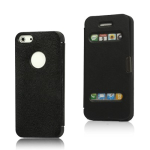 Textured Plastic &amp; Leather Hybrid Flip Case for iPhone 5 - Black