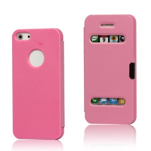 Textured Plastic & Leather Hybrid Flip Case for iPhone 5 - Pink