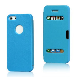 Textured Plastic & Leather Hybrid Flip Case for iPhone 5 - Blue