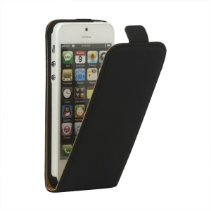 Genuine Split Leather Vertical  Magnetic Leather Case Cover for iPhone 5 5s - Black