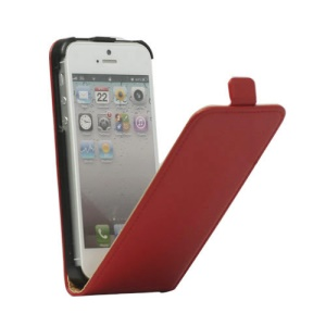 Genuine Split Leather Vertical  Magnetic Leather Case Cover for iPhone 5 5s - Red