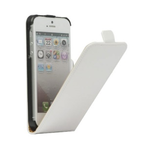 Genuine Split Leather Vertical  Magnetic Leather Case Cover for iPhone 5 5s - White