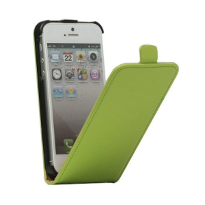 Genuine Split Leather Vertical  Magnetic Leather Case Cover for iPhone 5 5s - Green