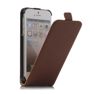 Genuine Split Leather Vertical  Magnetic Leather Case Cover for iPhone 5 5s - Brown