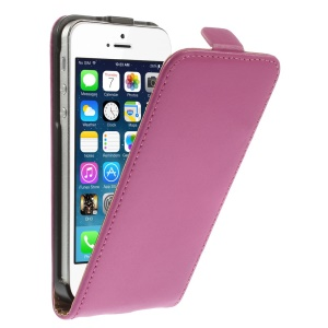 Genuine Split Leather Vertical Flip Case for iPhone 5 5s - Rose