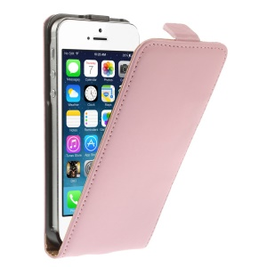 Genuine Split Leather Vertical Flip Cover for iPhone 5 5s - Pink