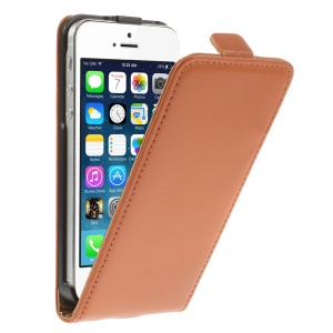 Genuine Split Leather Vertical Flip Shell Cover for iPhone 5 5s - Orange