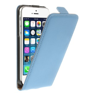 Genuine Split Leather Vertical Flip Magnetic Shell for iPhone 5 5s - Blue