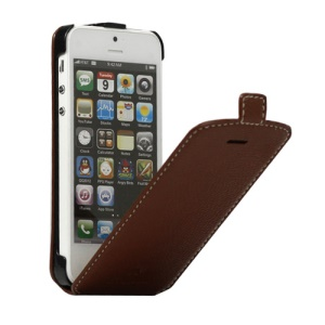 Vertical Magnetic Flip Leather Case Cover for iPhone 5 - Signal Brown