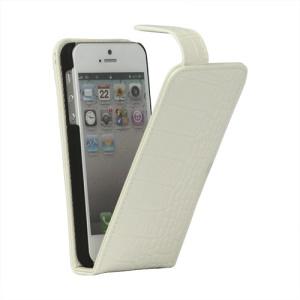Crocodile Genuine Leather Flip Case Cover for iPhone 5 - White