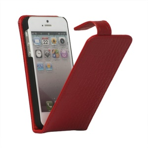 Crocodile Genuine Leather Flip Case Cover for iPhone 5 - Red