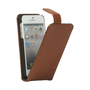 Crocodile Genuine Leather Flip Case Cover for iPhone 5 - Brown