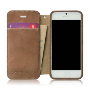 ZENUS Original Vintage Diary Style Genuine Leather Case Cover for iPhone 5