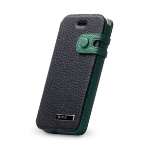 ZENUS Original Color Edge Diary Style Leather Case Cover for iPhone 5 - Green / Black