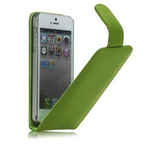 Vertical Genuine Leather Magnetic Case Cover Accessories for iPhone 5 - Green