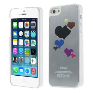 Heart Brushed Hard Protective Case for iPhone 5 5s - Silver