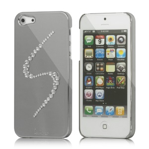Eileen S-Lime Series Sparkling Rhinestone Electroplating Hard Case Cover for iPhone 5 - Silver