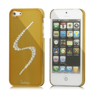 Eileen S-Lime Series Sparkling Rhinestone Electroplating Hard Case Cover for iPhone 5 - Gold