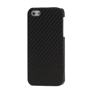Carbon Fibre Leather Coated Hard Case for iPhone 5 - Black