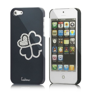 Eileen Clover Electroplating Diamante Case Cover for iPhone 5 - Black