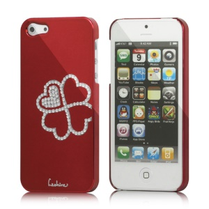 Eileen Clover Electroplating Diamante Case Cover for iPhone 5 - Wine Red