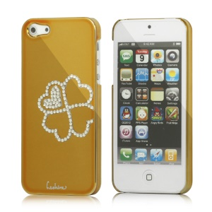 Eileen Clover Electroplating Diamante Case Cover for iPhone 5 - Gold