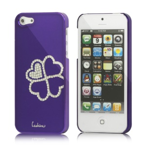 Eileen Clover Electroplating Diamante Case Cover for iPhone 5 - Violet Purple