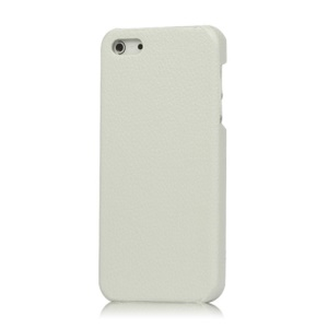 Lychee Leather Skin Hard Plastic Cover for iPhone 5 - White