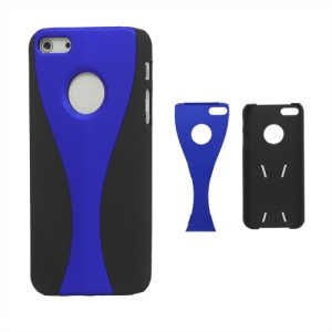Detachable Goblet Hard Protective Case for iPhone 5 - Black / Dark Blue