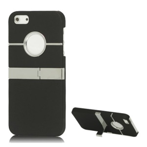 iPhone 5 5s Rubberized Hard Cover Case with Stand - Black