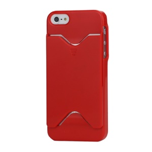 Glossy Credit Card Holder Plastic Case Cover for iPhone 5 5s 5s - Red